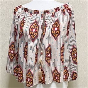 Boho Aztec Off Shoulder Tunic Top SM